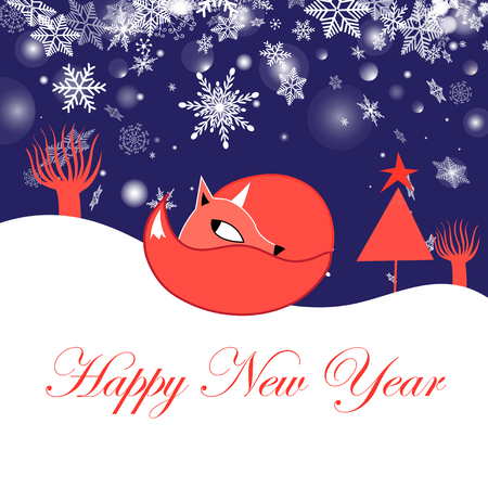 Festive New Year greeting card with fox on a blue background with snowflakes Çizim
