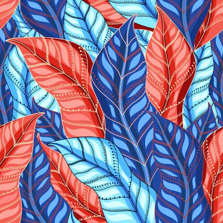 Herbst mehrfarbiges Muster von schönen Blättern Vektorgrafik