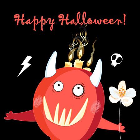 Illustration für Halloween-Feiertag fröhliches rotes Monster auf dunklem Hintergrund