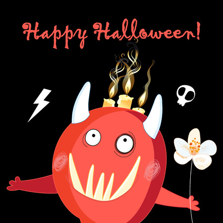 Illustration for Halloween holiday cheerful red monster on a dark background