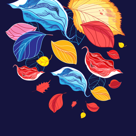 Illustration of a wonderful multi-colored leaf fall on a blue background