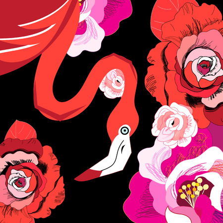 Graphic red flamingo among roses on a dark background