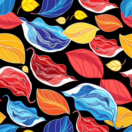 Seamless autumn pattern from leaves and buds on a black background