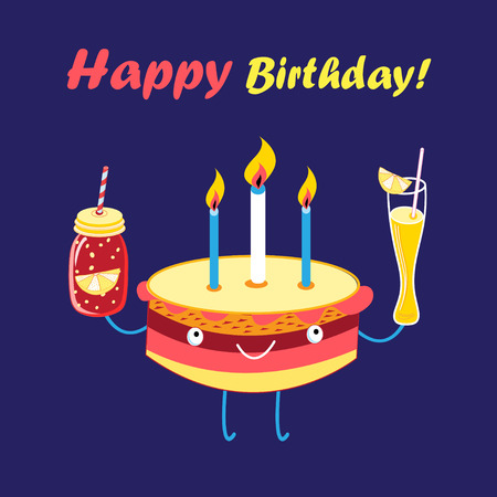Festive vector greeting card with a merry cake and cocktails on a blue background
