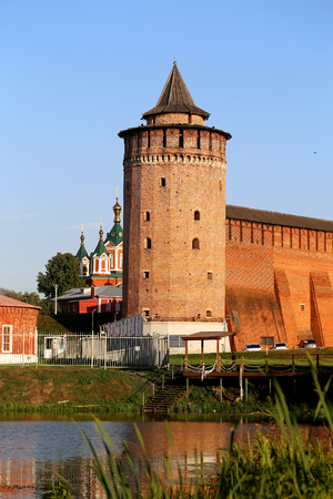Photo of the ancient Russian tower in the Kremlin in the sunny day Banco de Imagens