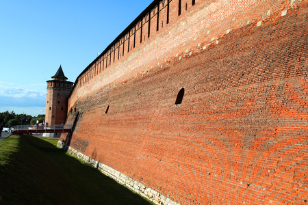 Photo of the ancient Russian tower in the Kremlin in the sunny day Stock Photo