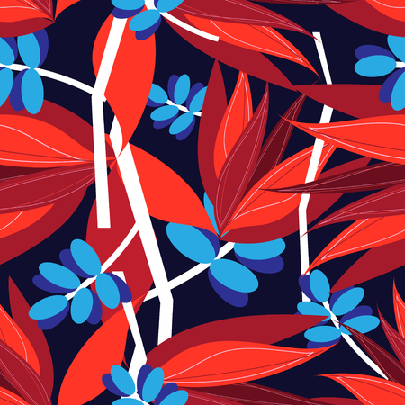 Seamless bright autumn pattern with red and blue leaves on a dark background Иллюстрация