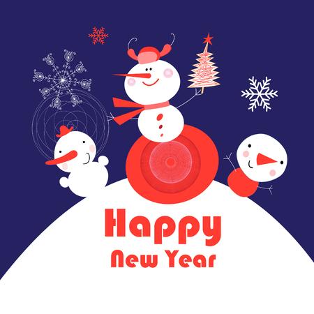 Tarjeta de año nuevo brillante con muñecos de nieve sobre un fondo azul con estrellas