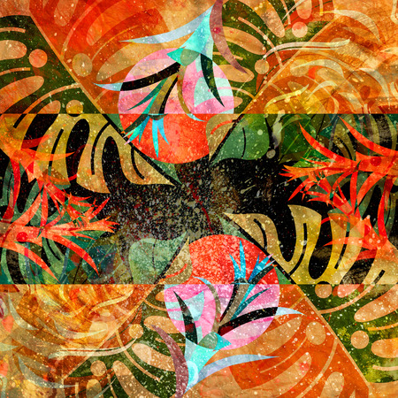 Abstract watercolor background with plants and different elements Фото со стока