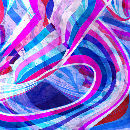 Abstract watercolor bright background with different wave elements