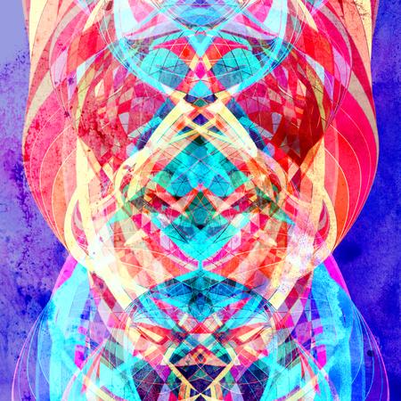 Fondo brillante acuarela abstracta con diferentes elementos de onda de colores