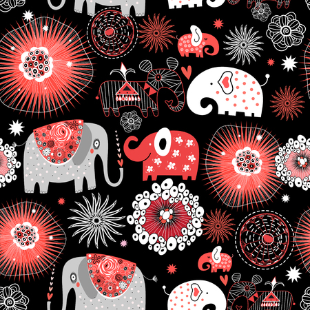 Vector graphic seamless pattern with love elephants among abstract patterns Stok Fotoğraf - 109370736