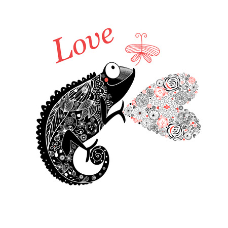 Vector graphic enamored chameleon with a heart and a butterfly on a white background Illustration
