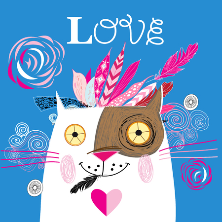 Beautiful love cat with a red heart vector illustration on blue background