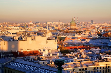 Beautiful photo view from above of St. Petersburg on an autumn sunset day Standard-Bild - 110370296