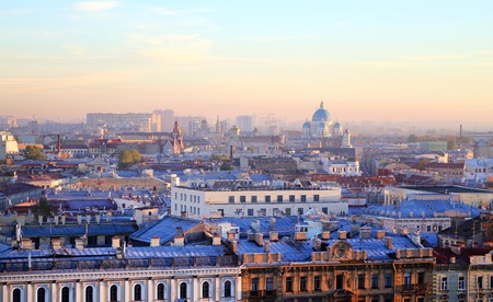 Beautiful photo view from above of St. Petersburg on an autumn sunset day Standard-Bild - 110370301