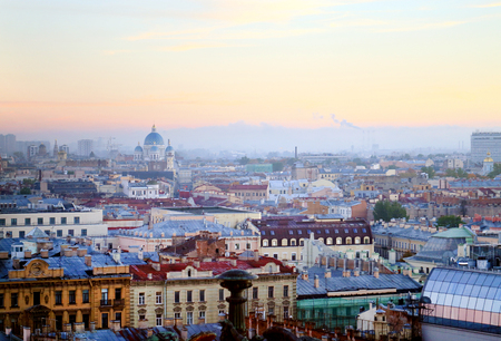 Beautiful photo view from above of St. Petersburg on an autumn sunset day Standard-Bild - 110370307
