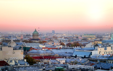 Beautiful photo view from above of St. Petersburg on an autumn sunset day Stock Photo