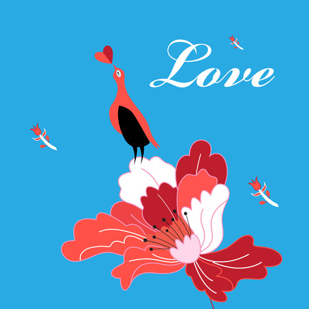 Beautiful bright greeting card with bird in love on a flower on a blue background Çizim