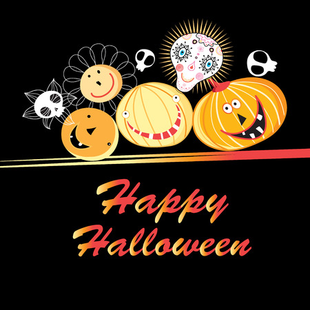 Halloween greeting card with funny pumpkins and skulls on a dark background