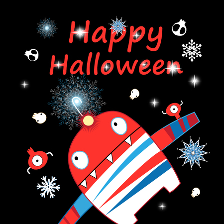 Halloween greeting card with a funny monster and skulls on a dark background  イラスト・ベクター素材