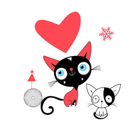 Valentines greeting card with a kitten in love with a heart on a white background
