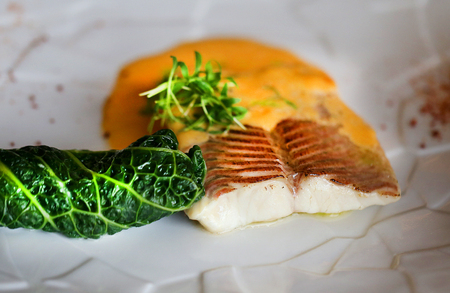 Macro photo of delicious white fish with salad on a plate in a restaurant Imagens