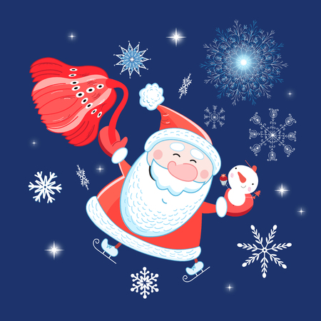 Bright postcard New years portrait of Santa Claus on a blue background Stok Fotoğraf - 127823434