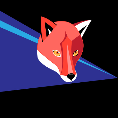 Vector bright color portrait graphics of a red fox on a dark background