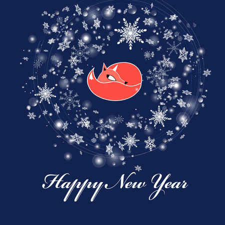 New Year greeting card with a fox on a blue background with snowflakes Vektorgrafik