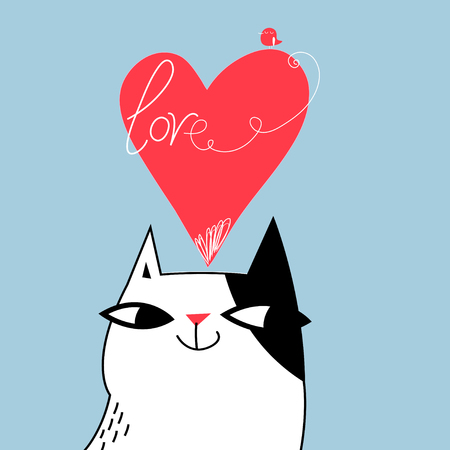 Greeting card with a funny cat on Valentines Day on a light background