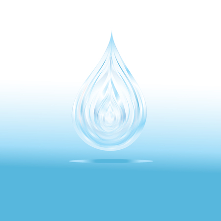 Bright blue drop of water on a light background. An example for design and advertising.