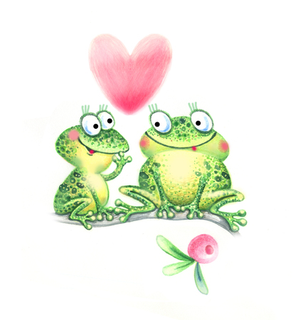Watercolor frogs in love with a heart on a white background