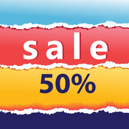 Abstract graphic advertising poster of multi-colored paper and sale in the store