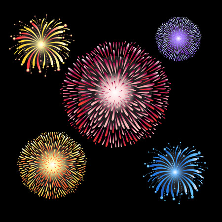 Gorgeous bright vector firework examples on a dark background