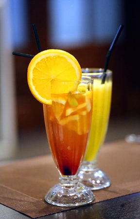 Macro photo of bright tasty cocktails in a restaurant