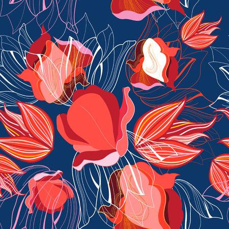 Naadloos helder patroon van rode tulpen tegen een donkere achtergrond.