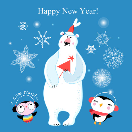 Congratulatory New Years merry greeting card with a polar bear and penguins on a blue background with snowflakes Иллюстрация