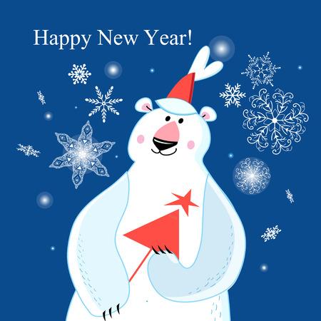 Congratulatory Christmas card with a polar bear on a blue background with snowflakes Иллюстрация
