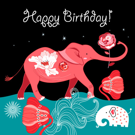 Bright greeting card with a red elephant on a beautiful background with flowers and stars
