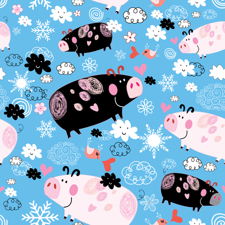 Seamless festive New Years pattern with pigs on a blue background with snow and clouds. Template for design wallpaper, business cards and a poster.