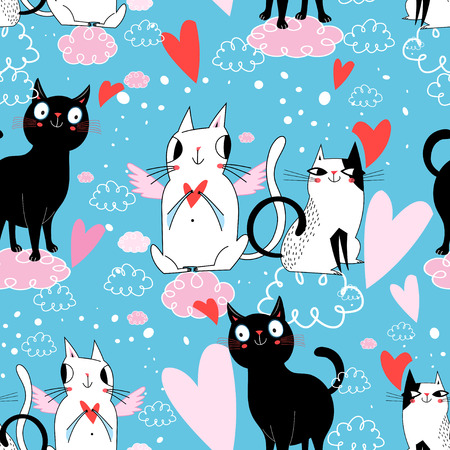 Seamless festive pattern with cats in love on blue background with hearts Stockfoto - 113009655