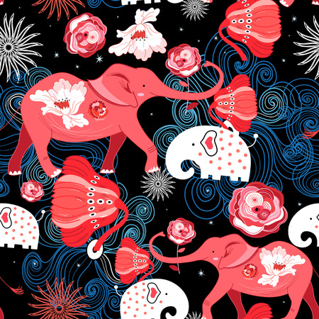 Seamless bright festive pattern of red elephants with roses on a dark decorative background.
