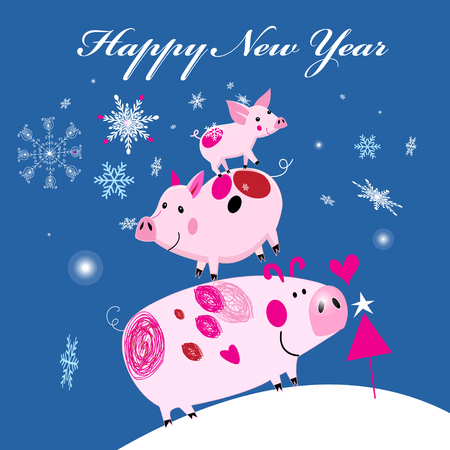 New Years merry greeting card with three piglets on the background with snowflakes. Design for an example.