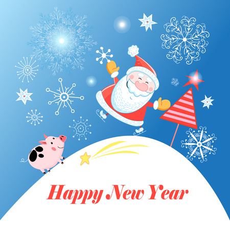 Greeting Christmas card with Santa Claus and a pig on a blue background with snowflakes