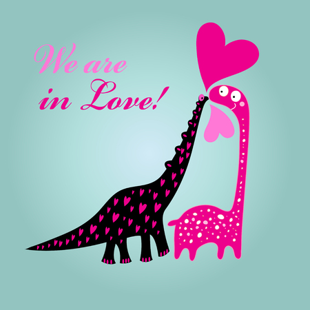 Greeting card to Valentines Day card with dinosaurs in love and hearts on a light background Illustration