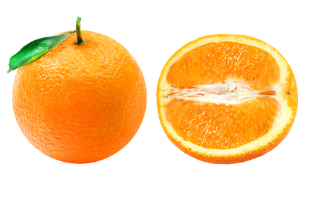 Isolated oranges. Collection of whole and sliced orange fruits isolated on white background