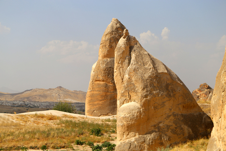 Photo of beautiful landscape views of the mountains of Cappadocia in Turkey on a sunny afternoon autumn Stock Photo