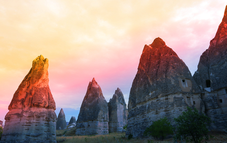Photo of beautiful landscape views of the mountains of Cappadocia in Turkey on a sunny afternoon autumn 写真素材