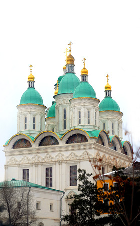 Beautiful architecture photo Orthodox Assumption Cathedral in Astrakhan in winter